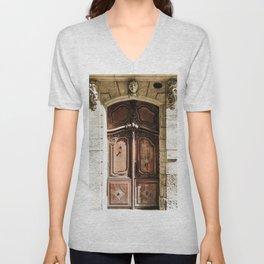 Doorway | Hotel de La Grange Nimes France Vintage Rustic Old World Desaturated Architecture Unisex V-Neck
