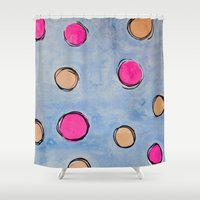 dots Shower Curtains featuring Dots by HollyJonesEcu
