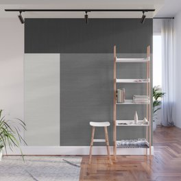 Geometrically Grey Split Horizontal & Vertical - Mondrian Wall Mural