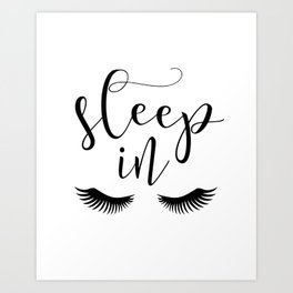 SLEEP IN PRINT, Let's Sleep In,Lashes Decor,Lashes Art,Good Night Print,Teen Girls,Calligraphy Quote Art Print