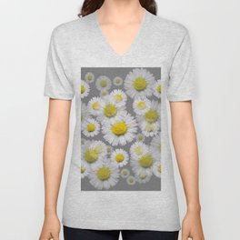 GREY GARDEN OF SHASTA DAISY FLOWERS ART Unisex V-Neck