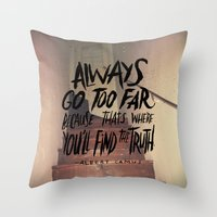 camus Throw Pillows featuring Camus on Finding the Truth by Josh LaFayette