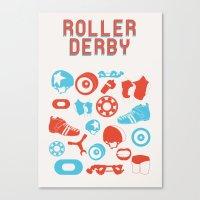 roller derby Canvas Prints featuring Roller Derby by RhiannonHeeley