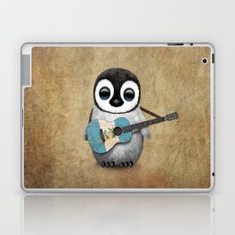 Baby Penguin Playing Guatemalan Flag Acoustic Guitar Laptop & iPad Skin