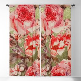 Gold Rose Floral Bloom Raspberry Pink Watercolor Blackout Curtain