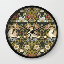 Whippets and Strawberry Thieves Wall Clock
