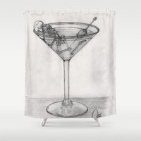 martini Shower Curtains featuring Addiction martini by CharlieValintyne