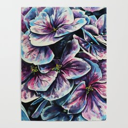 purple flowers watercolor art Poster