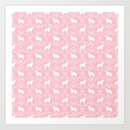 Bernese Mountain Dog florals dog pattern minimal cute gifts for dog lover silhouette pink and white Art Print