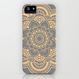 Mandala Flower Gray & Peach iPhone Case