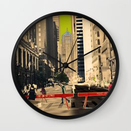 Downtown Chicago photography digitally reimagined - modern Chicago skyline in pop art Wall Clock
