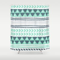 shipping Shower Curtains featuring Winter Stripe by Alice Rebecca Potter