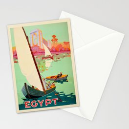 Vintage Egypt Travel Poster Nile River Sailboat Colorful Commercial Advertisement Stationery Cards