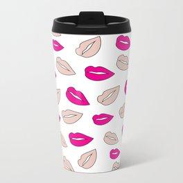 Modern neon pink millennial pink lips hand drawn pattern Metal Travel Mug