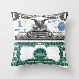 Vintage 1899 Eagle US $1 Dollar Bill Silver Certificate Wall Art Throw Pillow