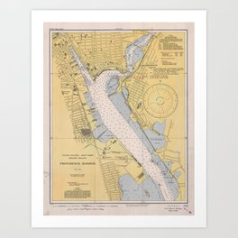 Vintage Map of Providence Harbor RI (1941) Art Print