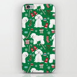 Bichon Frise Christmas dog breed pattern mittens stockings presents dog lover iPhone Skin