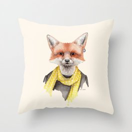F is for a Foxxy Fox | Watercolor Fox Portrait Throw Pillow