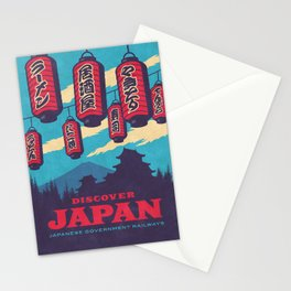 Japan Tourism Lanterns Castle Mt Fuji Retro Vintage - Blue Stationery Cards