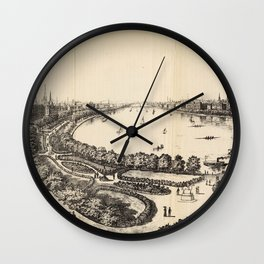 Vintage Pictorial Map of The Charles River (1886) Wall Clock