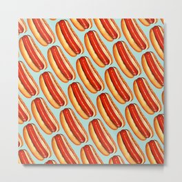 Hot Dog Pattern Metal Print