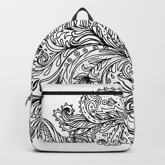 B&W Floral Indian Pattern Backpack
