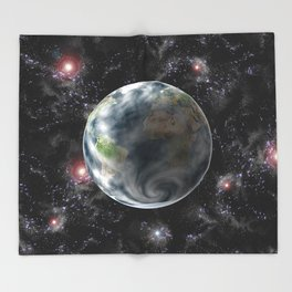 Planet Earth-Space Throw Blanket