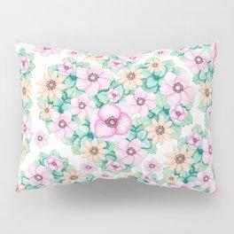 Elegant blush pink green hand painted watercolor floral pattern Pillow Sham