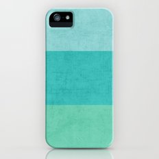 three stripes - teal iPhone (5, 5s) Slim Case