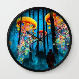 Electric Jellyfish Worlds in a New Blue Forest Wall Clock