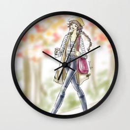 Fall Fashion Coffee Girl Wall Clock