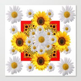 WHITE DAISIES & SUNFLOWERS RED GARDEN  FLORAL Canvas Print