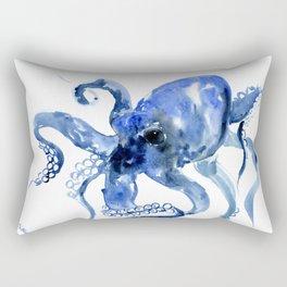 Navy Blue Octopus Artwork Rectangular Pillow