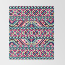 Pink, Teal, and Yellow Aztec Geometric Throw Blanket