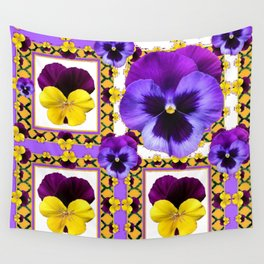 ASYMMETRICAL SPRING PURPLE & YELLOW PANSIES  ART Wall Tapestry