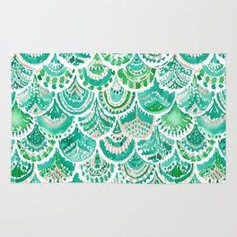 VENUS DE MER Green + Blush Mermaid Scales Rug