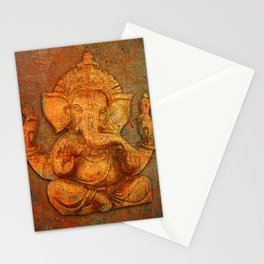 Lord Ganesh On a Distress Stone Background Stationery Cards