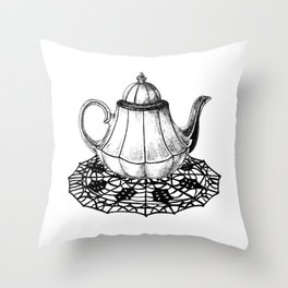 dark teapot Throw Pillow