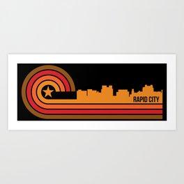 Retro Rapid City South Dakota Skyline Art Print