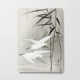 Egrets flying over the swamp - Japanese vintage woodblock print art Metal Print
