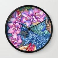 splash Wall Clocks featuring Orchid Splash by Vikki Salmela