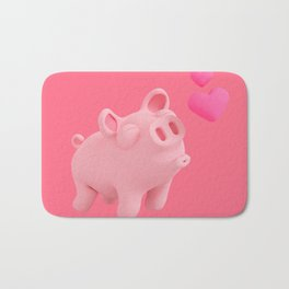 Rosa the Pig kisses Bath Mat