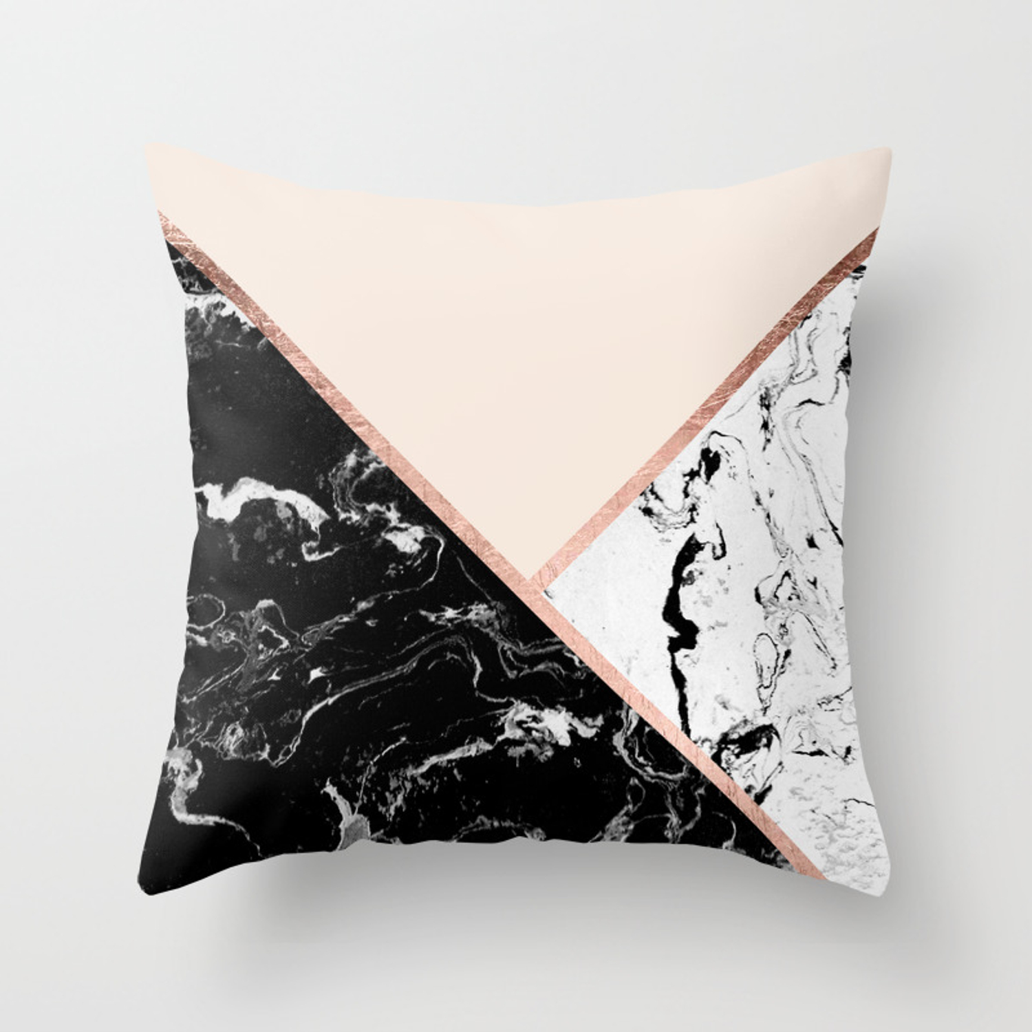 325dd3a93650 Modern black white marble rose gold color block stripes blush pink Throw  Pillow