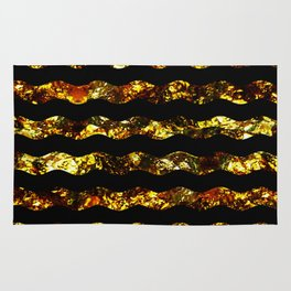 Golden Waves - Abstract, black and gold, wavy stripes pattern Rug