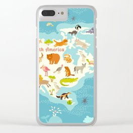 Animals world map, North America. Colorful cartoon vector illustration for children and kids. Presch Clear iPhone Case