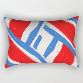Abstract Red and Blue Stripe Pattern Rectangular Pillow