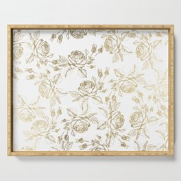 Vintage white faux gold roses floral Serving Tray