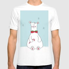 Christmas Polar Bear SMALL White Mens Fitted Tee