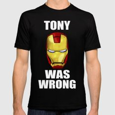 Tony Was Wrong (Iron Man Movie Version) Black SMALL Mens Fitted Tee