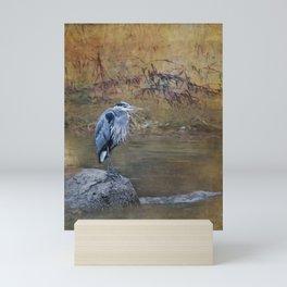 Great Blue Heron on a Rock Mini Art Print
